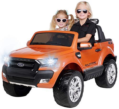 Actionbikes Motors Kinder Elektroauto Ford Ranger Wildtrak - Allrad 4x4 - Touchscreen - 2 Sitzer - 4 x 45 Watt Motor- 2,4 Ghz Rc Fernbedienung - Elektro Auto für Kinder ab 3 Jahre (Allrad Orange)