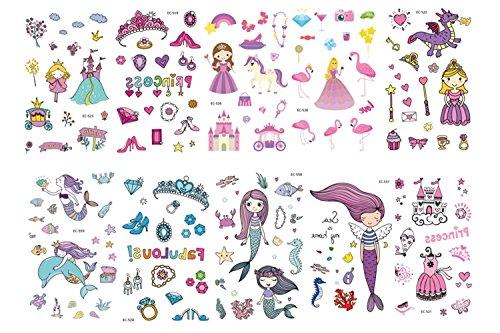 Freesiom Kit de 10 Tatouage Enfant Fille Princesse Ephémère Temporaire Sirene Mer Licorne Dauphin Fleur Bijoux Animaux Kawaii Étanche Waterproof Tatoo
