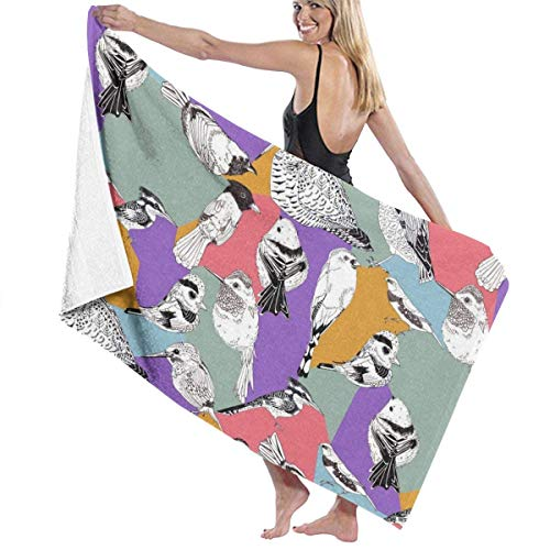 Toallas Shower Towels Beach Towels Bathroom Towels Toalla De Baño Toallas de baño para exteriores con pájaros blancos y negros Toalla 130 x 80 CM