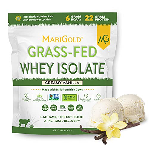 Marigold Grass-fed Whey Isolate Protein Powder - Creamy Vanilla Flavor - 1 Lb Bag   100% Pure, Cold-Processed, Micro-Filtered, Undenatured, Non-GMO, rBGH Free, Soy Free, Gluten Free, Lactose Free