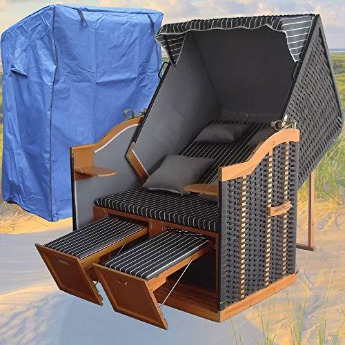 XINRO® - XY-71 - Volllieger Ostsee Strandkorb anthrazit inkl. Strandkorbhülle u. 4X Kissen, schwarzes Polyrattan, Ostsee Strandkorb Form