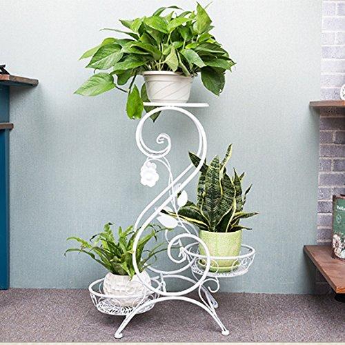 3 couches en métal noir jardin terrasse plante fleur pot étagère affichage 3 pots (Couleur : Blanc, taille : 32 * 25 * 55cm)