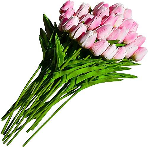 YYHMKB 30pcs Jardín Tulip Flores Artificiales Tulipan Real Touch Flowers Festival Suministros Decoración para el hogar Flores Falsas Ramo Decoración de la Boda Rosa