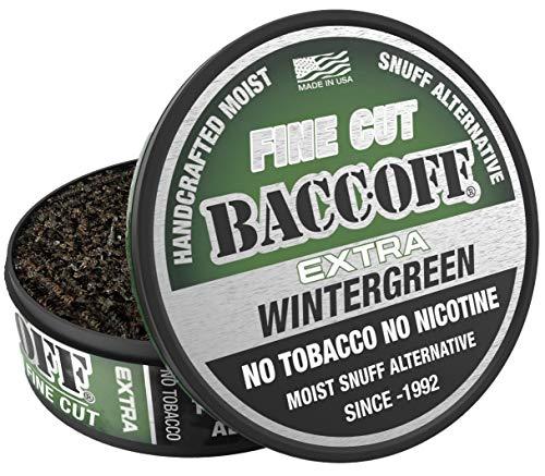 BaccOff, Extra Wintergreen Fine Cut, Premium Tobacco Free, Nicotine Free Snuff Alternative (1 Can)