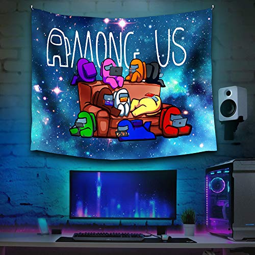 A-mo-ng U-s Wall Tapestry Decor Cool Social game Wall Hanging Bedroom Aesthetic Funny Tapestries For Living Room College Dorm Decorative 60 X 50 Inch