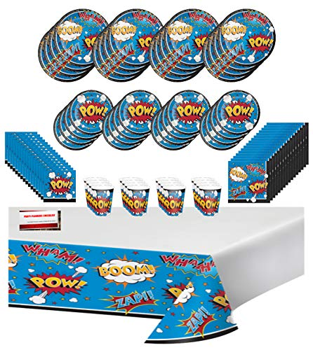 Action Adventure Superhero Hero Party Premium Deluxe Birthday Party Supplies Decorations Ultimate Jumbo Bundle Pack for 16 Guests (Plus Party Planning Checklist by Mikes Super Store)