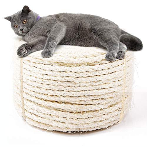 JSPYFITS Cuerda de Sisal Gatos 7mm, Sisal Cuerda para Reparar y Reemplazo de Gato Rascarse Pilar, Reemplazo Rascador para Reparación Árbol, Blanco, 50metros