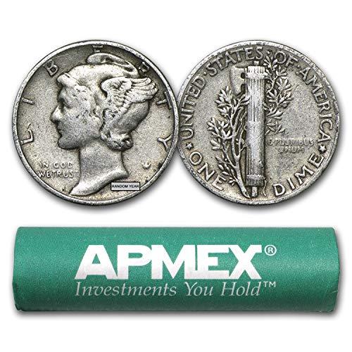 1916-1945 90% Silver Mercury Dime 50-Coin Roll Avg Circ Dime Very Good