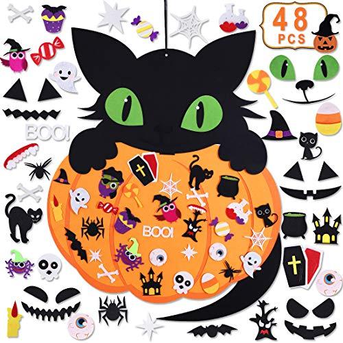 Max Fun 2.65ft Halloween DIY Pumpkin Cat Felt Set with 48PCS Ornaments Home Decoration Wall Hanging Felt Craft Kits for Kids Halloween Birthday Party Favor