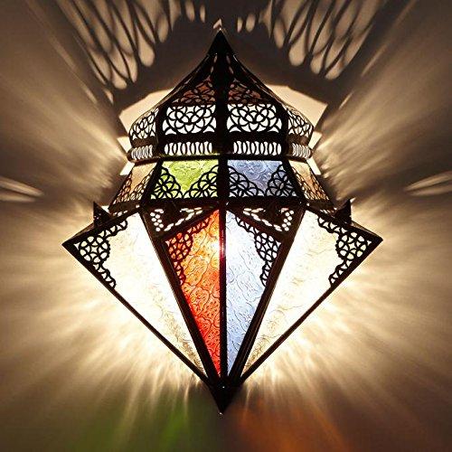 Marokkanische Wandlampe orientalische Wandleuchte Jawhar B 32 x H 42 cm aus Eisen & Glas | Kunsthandwerk aus Marokko | L1420