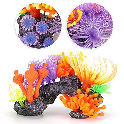 Yolispa Aquarium Künstliche Koralle Lebendige Weichkorallen Ornament Simulation Glüheffekt Aquarium Dekor