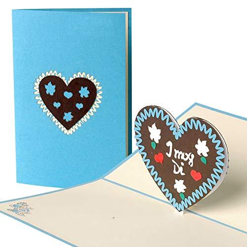 Pop Up Karte mit Lebkuchenherz aus Papier, gut als Geschenk Zum Oktoberfest, Herz Geschenke G12