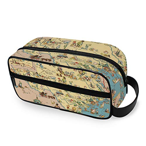 Voyage Texas State Map Cartoon Pattern Beauty Portable Makeup Bag Toiletry Pouch Storage Tools Cosmetic Train Case