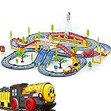 Juguete del coche de carreras de pista, coche de carreras Niños determinado de la pista, Pistas del tren flexible for el Juego de tren niños pequeños con Musical Puente Y LED eléctrico, pista de coche