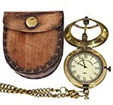 collectiblesBuy Antique Sundial Style Brass Pocket Watch Chain Pendant Leather Case Marine Clock