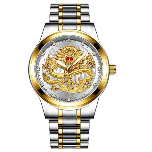Armband für Herren/Skxinn Männer Quartz Uhrenarmband mit Edelstahl Uhrarmband,Fashion Embossed Diamond Dragon Face Watch,Casual Herrenuhr Ausverkauf(B)