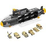BAKAJI Sottomarino Militare Bisarca Giocattolo Bambini con 6 Veicoli Militari tra Macchinine Camion Elicottero e Carroarmato con Maniglia per Il Trasporto Dimensione 54 x 10 x 18 cm