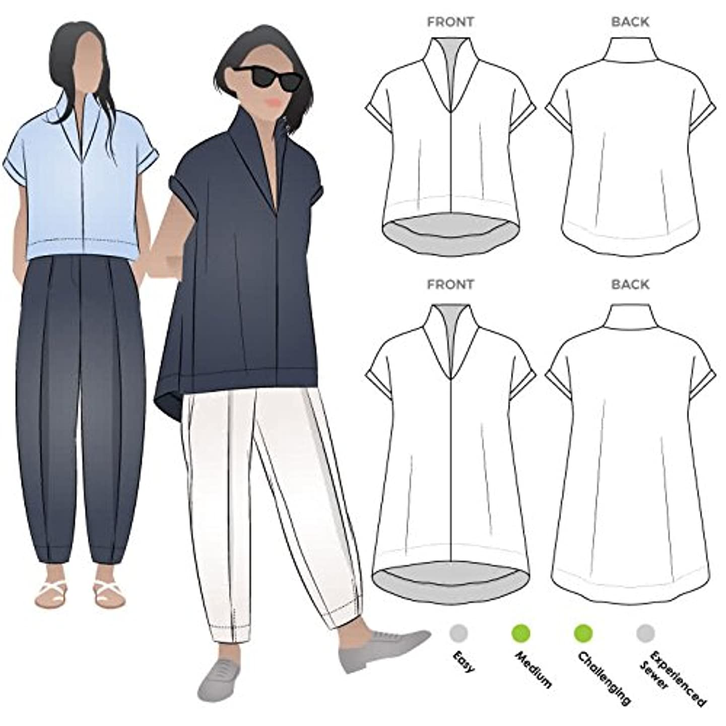 Style Arc Sewing Pattern - Teddy Designer Top (Sizes 18-30) - Click for Other Sizes Available