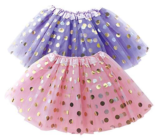 Polka Dot Tutu Skirt for Toddler Girls/Tutu Set Pink Tulle Skirts & Purple Tutus Sets- Girl Dress Up Birthday Party, Halloween Costume, Christmas Gift