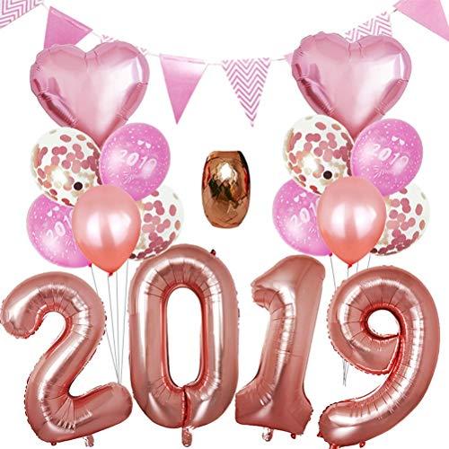 Toyvian 2019 Globos de Oro Rosa para Aniversario Decoraciones de Fiesta Nochevieja,17pcs