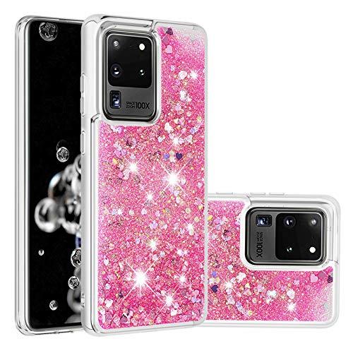 Miagon Flüssig Hülle für Samsung Galaxy S20 Ultra,Glitzer Treibsand Handyhülle Glitter Quicksand Schutzhülle Bumper Case Cover,Rosa