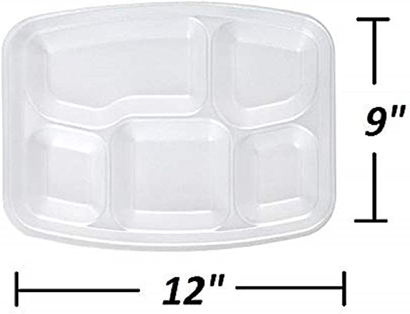 Disposable Compartment Trays 9 X 12 Pack Of 50 White Rectangular Foam Plates School Lunch Trays With Divided Sections Serving Tray For Lunch Dinner Picnic Outdoor Party Supplies