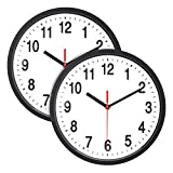 Foraineam 2-Pack Silent Non Ticking Wall Clock - 10 inch Quartz Battery Operated Clock - Easy to Read with Modern and Elegant Design
