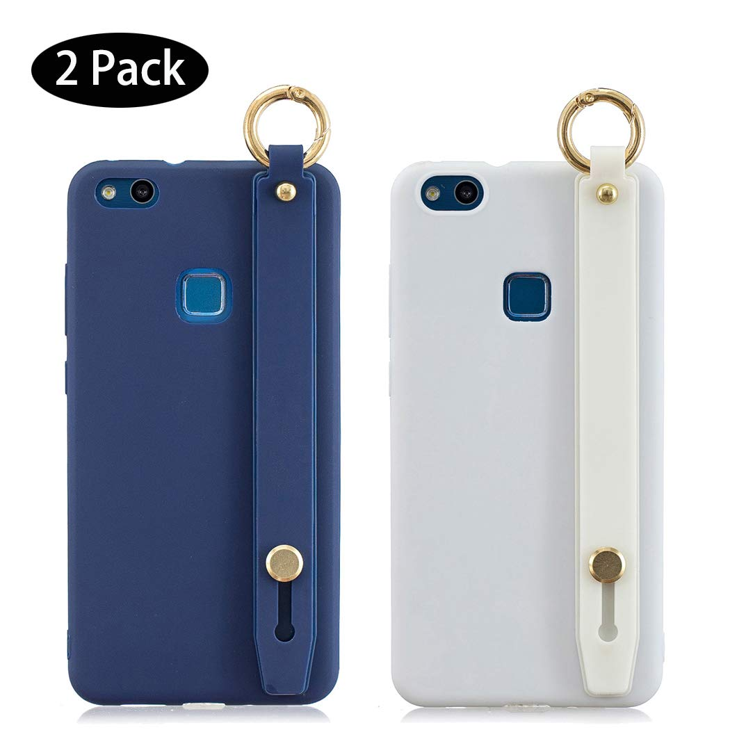 2 Pack] Funda Huawei P10 Lite Azul Blanco, Carcasa para Huawei P10 Lite Silicona con Correa de muñeca, Fundas Móvil Antigolpes Suave Flexible TPU Cubierta Caja Tapa Caso: Amazon.es: Electrónica