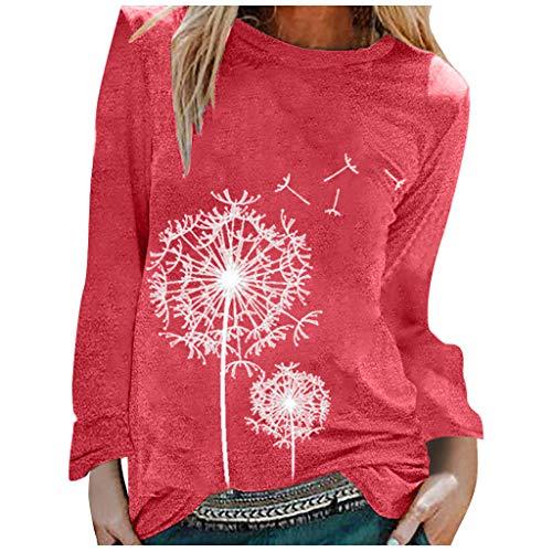 BOIYI Camiseta Manga Larga de Cuello Redondo Mujer Jersey con Estampado de Diente de León Casual Camiseta Otoño Primavero Sudaderas Blusa Tops Pullover(Rojo,L)