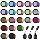Artdone 20 Jars Chrome Nail Powder with Base top Coat,Color Gel,Metallic Mirror Effect Holographic Chameleon Pigment 1g/Jar for Nail Art Gel Polish Mermaid Unicorn Powder