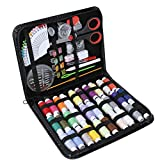 101pcs kit de costura set herramienta de costura caja de costura de cuero de imitación negro principiante, viaje, hogar, regalo