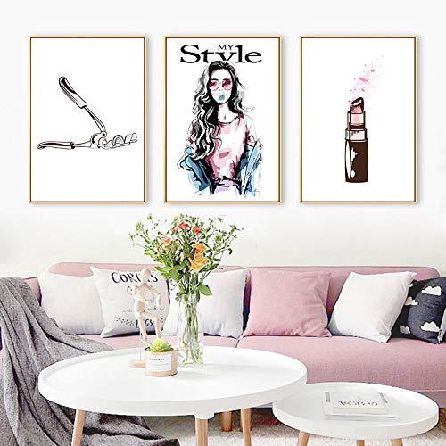 HUANGXLL Nail Polish Lipstick Perfume Canvas Posters Prints Wall Art Painting Oil Decorative Picture Modern Beauty Salon Home Decoration-30x50cmx3Pcs-No Frame