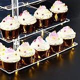 ANJI Depot Cupcake Ständer zum Geburtstag, Cupcake Stand Bar Party Dekor, ideal für Hochzeiten, Geburtstag (Yellow, 5Tier) - 3