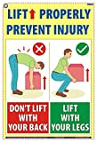 TeachingNest | Lift properly | English | 33x48 cm | Material Handling Safety Poster | Industrial Safety Posters | Wall Sticking
