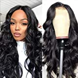 Pelucas de cabello humano ondulado 150% densidad Virgen brasileño Cabello humano Pelucas de encaje frontal con pelo de bebé para mujeres negras Color natural (10 pulgadas, 13 x 6 pelucas)