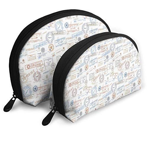 Shell Shape Makeup Bag Set Tragbare Geldbörse Reise Kosmetikbeutel, Vintage Old Stempel Tourist Passport Visa Zertifikat Urlaub Urlaub Thema, Frauen Toilettenartikel Clutch