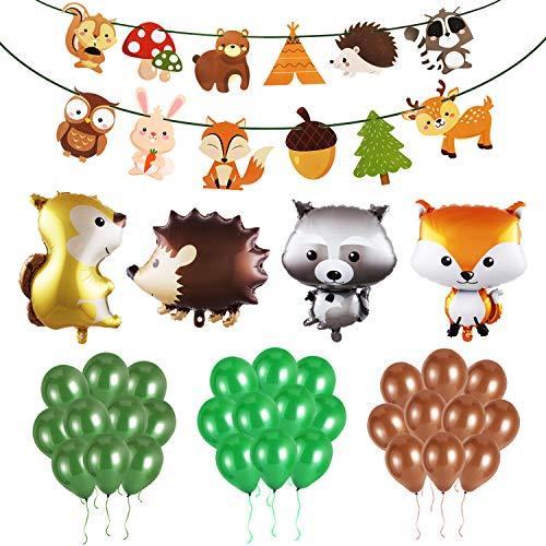 PHOGARY Walddekorationen (36 Stück) für Erster Geburtstag Junge - Waldtier Partydekorationen Luftballons, Papiergirlande für Waldfreunde Themenparty Kindergeburtstag Partydeko