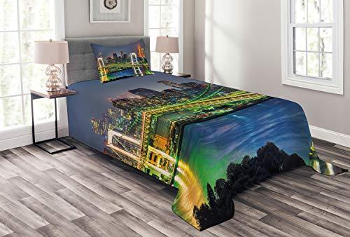 ABAKUHAUS Landschaft Tagesdecke Set, Tokyo Skyline Japanisch, Set mit Kissenbezug Ohne verblassen, für Einselbetten 170 x 220 cm, Grün