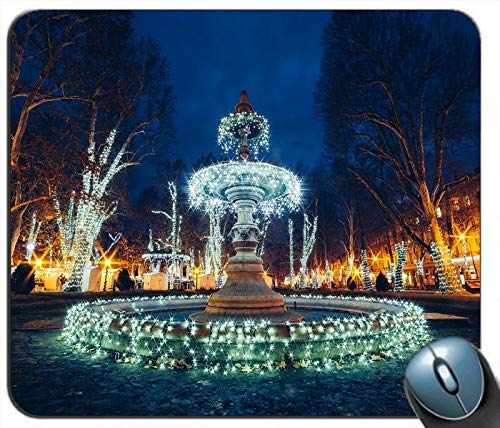 Kroatien Zagreb Brunnen Schöne Weihnachtsbeleuchtung Shine Night Personalisierte Rechteck Maus Pad Mausmatte