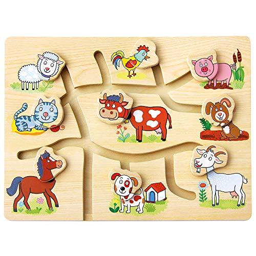 """Bino Zuordnungsspiel \""""Findest du den passenden Kopf?\"""" Spielzeug für Kinder ab 10 Monate, Kinderspielzeug (Spiel für Kinder, Thema: Bauernhof, Förderung von Motorik & Kreativität), Mehrfarbig"""