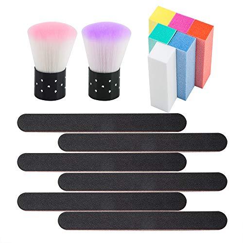 2 Pcs Soft Nail Arts Dust Cleaner pinceau, pinceau de maquillage YuCool Portable Short Handle pour acrylique Poudre Poudre Remover Nail Art Outils-Violet, Rose
