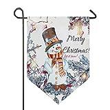 Oarencol Weihnachts-Schneemann, Winter, Weihnachtsbaum, Garten-Flagge, doppelseitig, Dekoration für Zuhause, 31,8 x 45,7 cm, Polyester, Multi, 28 x 40 inch