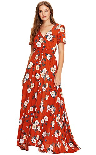 Milumia Women's Button Up Split Floral Print Flowy Party Maxi Dress Medium Multicolour-red