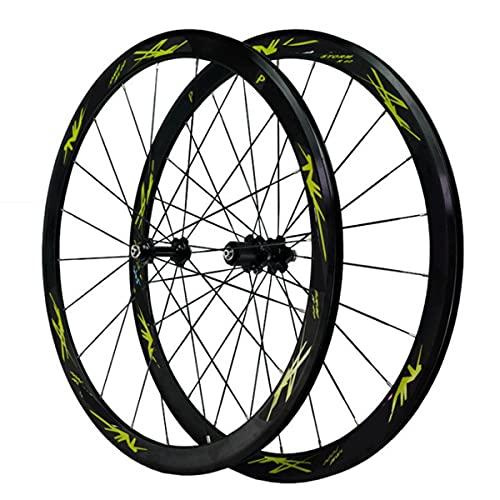 VDSOIUTYHFV 700C Fibra di Carbonio Set di Ruote per Bici 40mm Cerchio Ruota in Bicicletta Freni A C/V Palin Mozzo A Cassetta Rilascio Rapido per 7-11 Volano