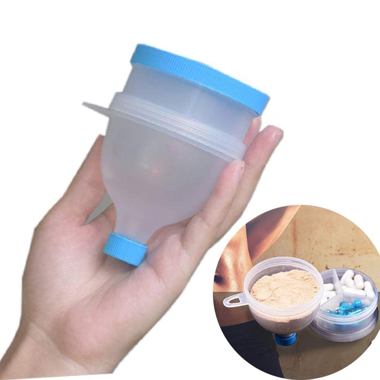 カプラー文経由でファンネル 粉末サプリメント 携帯用 漏斗 プロテインサプリメント携帯容器 プロテイン BCAA カプセル 等も 持ち運び可能 スカイブルー BPAフリープラスチック