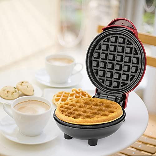 Punvot Waffeleisen, Waffelautomat Sandwichmaker mit Antihaftbeschichtung Rund Waffle Maker Elektrischer Waffeleisen Kleine Waffeleisen für Kinder Mini Waffelmaschine für Küch Frühstück Panini Waffle