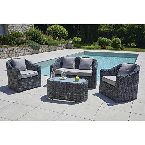 Ozalide - Conjunto de muebles de jardín de resina trenzada con grillete para 4 personas, color gris oscuro