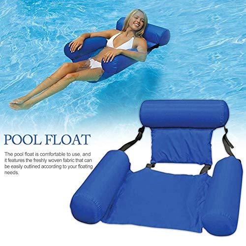Flottant Hamaca hinchable para piscina, cama de agua, hinchable, tumbona, piscina, verano, exterior, cómoda, multiuso, plegable, piscina, hinchable con respaldo, para adultos, 100 x 120 cm, color azul