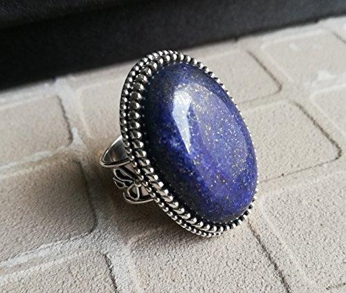 Lapis Lazuli Ring | Statement Ring | Handmade Jewelry | Oval Stone | Gemstone Ring | Beautiful Jewelry | Silver Charm |