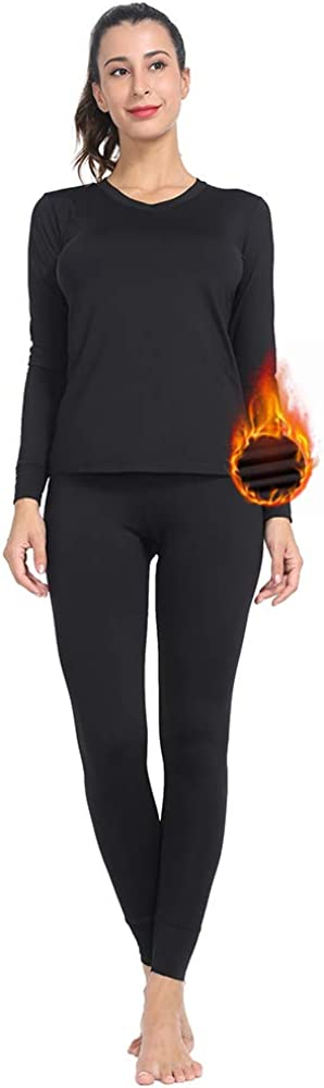 Subuteay Womens V Neck Thermal Underwear Long Johns Sets with Fleece Lined Top & Leggings Ultra Soft